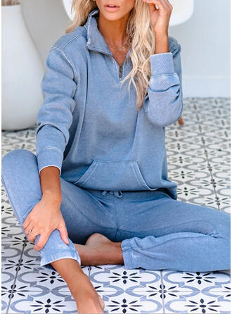 Solid Pockets Casual Sporty Stretchy Suits