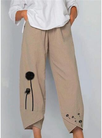 Patchwork Print Shirred Plus Size midi Casual Solid Print Plain Pants