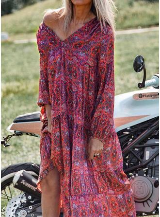 Print Long Sleeves Shift Casual/Vacation Midi Dresses