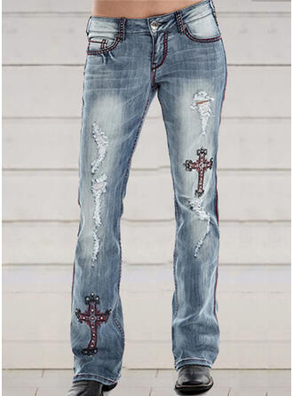 Embroidery Plus Size Ripped Long Elegant Skinny Denim & Jeans