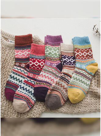 Floral/Striped/Bohemia/Colorful Warm/Breathable/Crew Socks Socks (Set of 5 pairs)