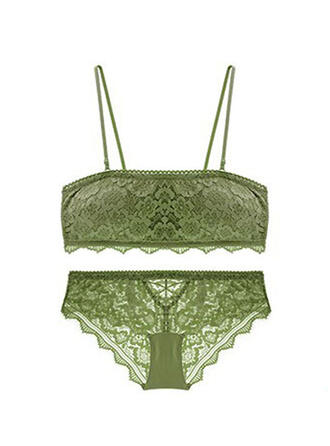 Polyester Nylon Lace Embroidery Floral Lingerie Set