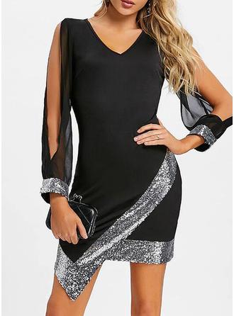 Sequins Long Sleeves/Split Sleeve Bodycon Above Knee Little Black/Party Dresses