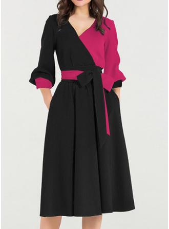 Color-block Long Sleeves A-line Knee Length Vintage/Elegant Dresses