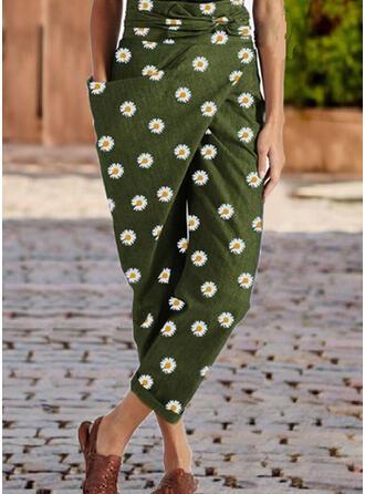 Floral Patchwork Plus Size Cropped Casual Elegant Pants