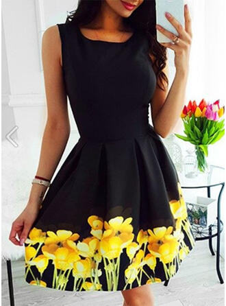 Print/Floral Sleeveless A-line Above Knee Vintage/Casual/Elegant Dresses
