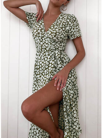 Print/Floral Short Sleeves A-line Wrap/Skater Casual/Elegant Midi Dresses