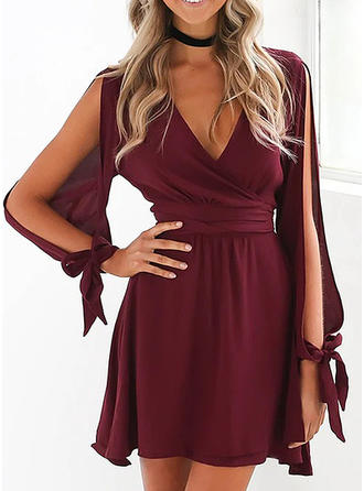 Solid Long Sleeves/Cold Shoulder Sleeve A-line Above Knee Party Skater Dresses