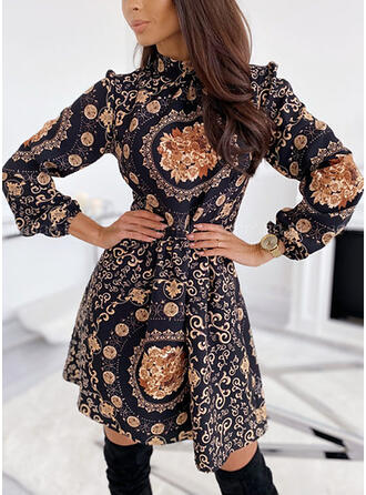 Print Long Sleeves A-line Above Knee Elegant Skater Dresses