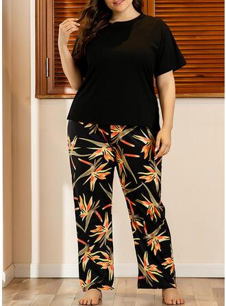 Polyester Print Floral Plus Size Short Sleeves Pyjama Set