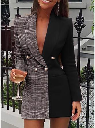 Color Block/Plaid Long Sleeves Sheath Above Knee Casual/Elegant Dresses