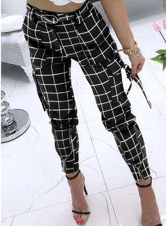 Plaid Pockets Plus Size Long Casual Elegant Sexy Pants