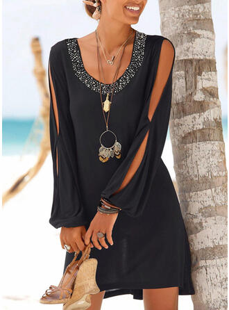 Sequins/Solid Long Sleeves Shift Above Knee Little Black/Vacation Tunic Dresses