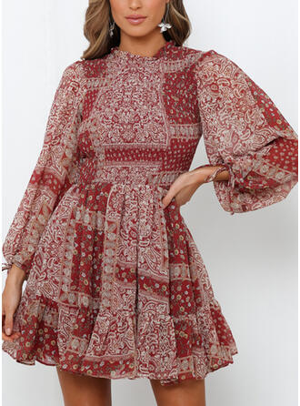 Print/Floral Long Sleeves A-line Above Knee Vintage/Casual/Vacation Dresses