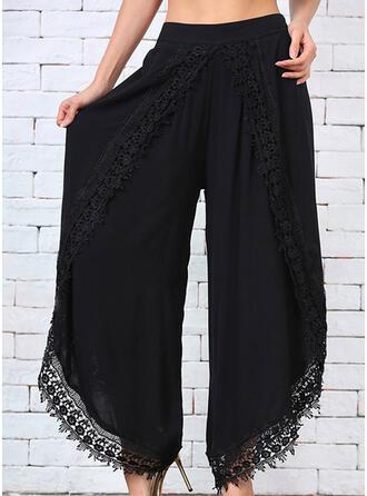 Pockets Shirred Plus Size midi Lace Plain Pants