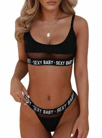 Polyester Patchwork Mesh Sexy Lingerie Set