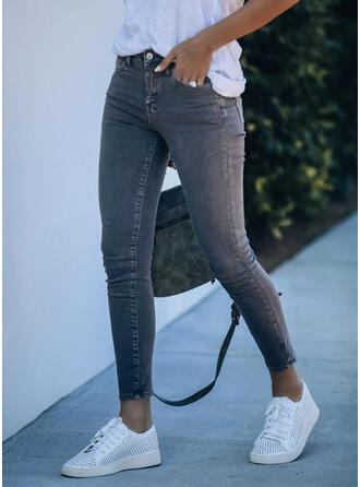 Solid Plus Size Sexy Vintage Denim & Jeans