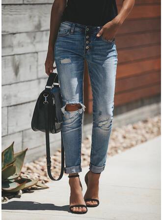 Pockets Shirred Long Casual Elegant Sexy Denim & Jeans