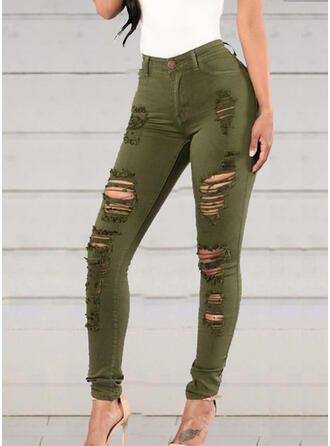 Shirred Ripped Long Sexy Skinny Denim & Jeans