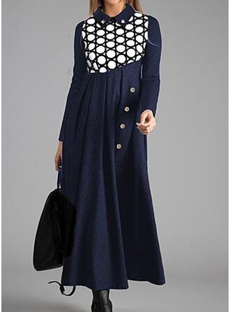 PolkaDot Long Sleeves A-line Skater Casual Midi Dresses