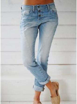 Pockets Shirred Long Casual Long Skinny Denim & Jeans