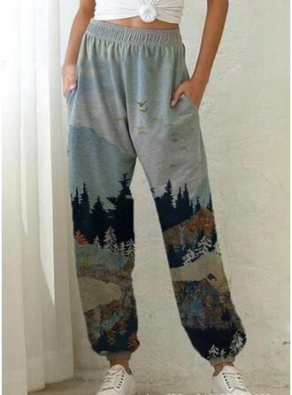 Print Shirred Plus Size Long Casual Sporty Pants