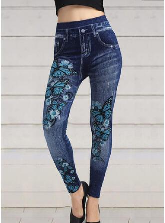 Floral Print Shirred Long Elegant Sexy Leggings