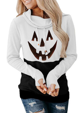 Print Halloween High Neck Long Sleeves Sweatshirt