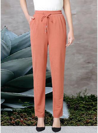 Pockets Shirred Plus Size Long Elegant Plain Pants