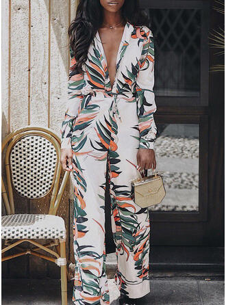 Print V-Neck Long Sleeves Casual Jumpsuit