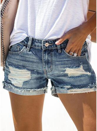 Solid Sexy Denim Shorts