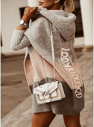 Print Color Block Hooded Casual Long Cardigan