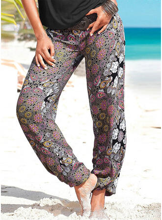 Print Shirred Long Boho Casual Yoga Pants