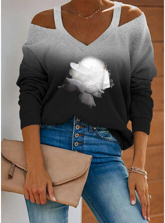 Print Floral Gradient Cold Shoulder Long Sleeves Casual Blouses