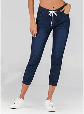 Pockets Shirred Plus Size midi Casual Solid Sporty Plain Denim & Jeans
