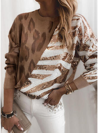 Patchwork Leopard Sequins Round Neck Casual Sweaters