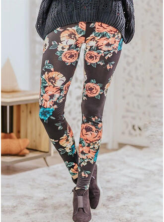 Floral Shirred Long Sexy Skinny Leggings