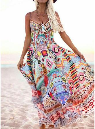 Print/Floral Sleeveless A-line Casual/Boho/Vacation Maxi Dresses