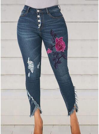 Floral Ripped Tassel Cropped Elegant Sexy Skinny Denim & Jeans