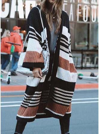 Color Block Striped Pocket Casual Long Cardigan