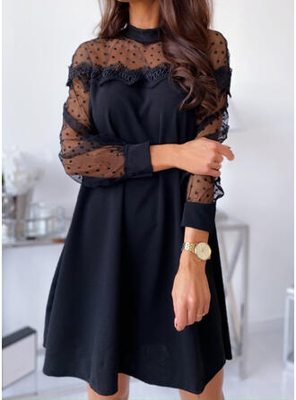 Lace/Solid/PolkaDot Long Sleeves Shift Above Knee Little Black/Elegant Tunic Dresses
