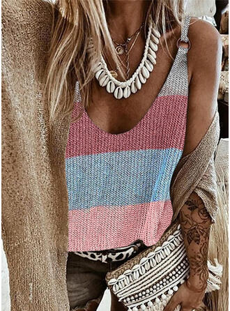 Print Color Block Round Neck Knit Tops