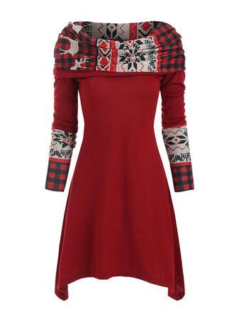 Print/Plaid Long Sleeves A-line Knee Length Christmas/Casual Skater Dresses
