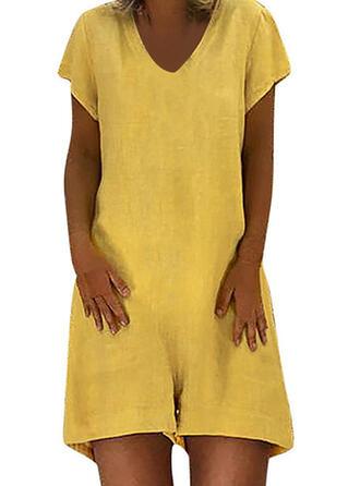 Solid V-Neck Short Sleeves Casual Romper
