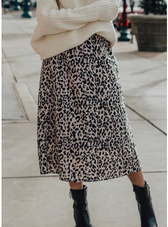 Cotton Blends Print Mid-Calf A-Line Skirts