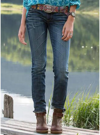 Shirred Plus Size Long Elegant Tribal Denim & Jeans