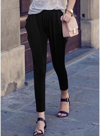 Pockets Shirred Plus Size midi Casual Elegant Sexy Solid Plain Pants
