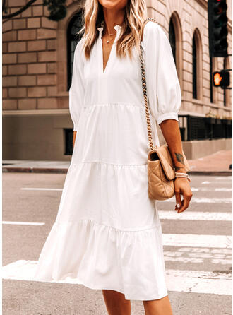 Solid 3/4 Sleeves Shift Casual/Elegant Midi Dresses