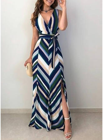 Striped Sleeveless A-line Sexy/Party/Vacation Maxi Dresses