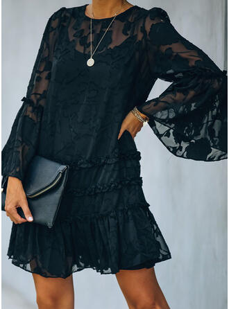 Lace/Solid Long Sleeves/Flare Sleeves Shift Above Knee Little Black/Casual/Elegant Dresses